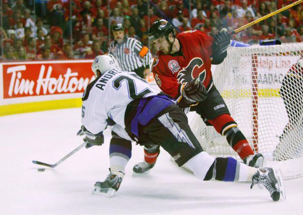 Dave Andreychuk and the Tampa Bay Lightning had a hard fought Stanley Cup Final with the Calgary Flames in 2004. (Courtesy of Jeff Vinnick/Getty Images)