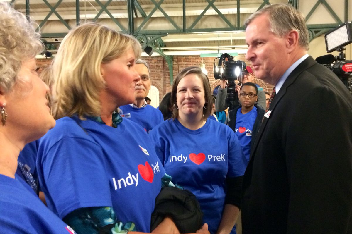 Indianapolis Mayor Greg Ballard speaks to supporters at a rally Dec. 1 for the Indianapolis Preschool Plan.