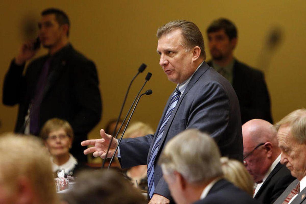 FILE: Sen. Curt Bramble, R-Provo speaks in the Senate at the Capitol in Salt Lake City in 2014. Bramble's bill regarding runoff elections passed through the Utah senate on Thursday, Feb. 2, 2017.