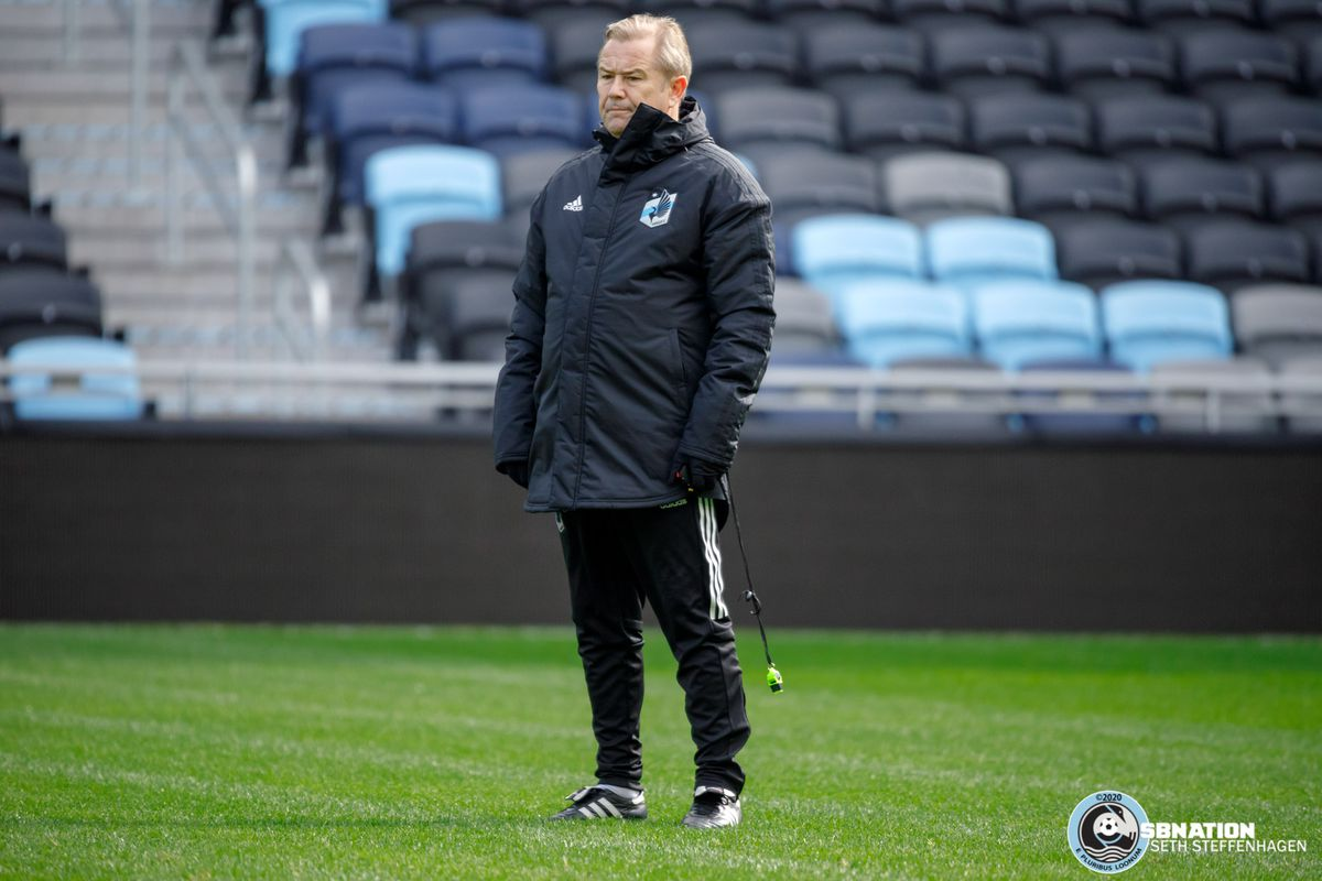 March 10, 2020 - Saint Paul, Minnesota, United States - Minnesota United head coach Adrian Heath watches the players during the Loon's first team practice at Allianz Field.