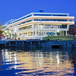"""<b>House of Sweden,</b> <em>Washington, D.C.:</em> Take in panoramic views of the river, Kennedy Center, Air Force Memorial, and the Watergate Complex from the  cool, minimalist embassy House of Sweden. [<a href=""""https://www.facebook.com/swedeninusa/photo"""