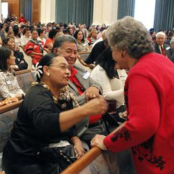 """Attendees greet each other at the Pacific Islander conference """"Navigating the Future"""" sponsored by the Deseret News as a forum for different issues for Polynesians at the Joseph Smith Building Wednesday, Sept. 21, 2011, Salt Lake City, Utah."""