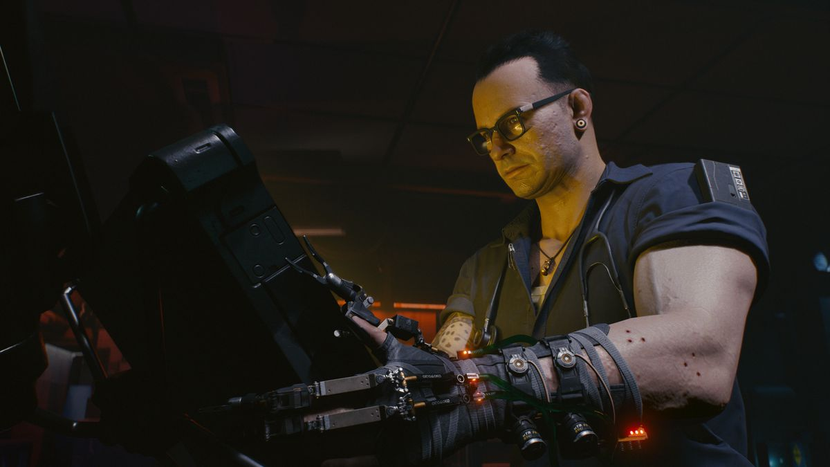 Cyberpunk 2077 - muscular guy with glasses and a cyborg arm looking at a screen