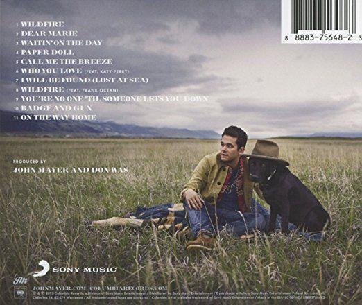 Back of John Mayer's 'Paradise Valley' album