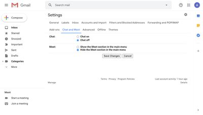 Chat and Meet options in Gmail settings