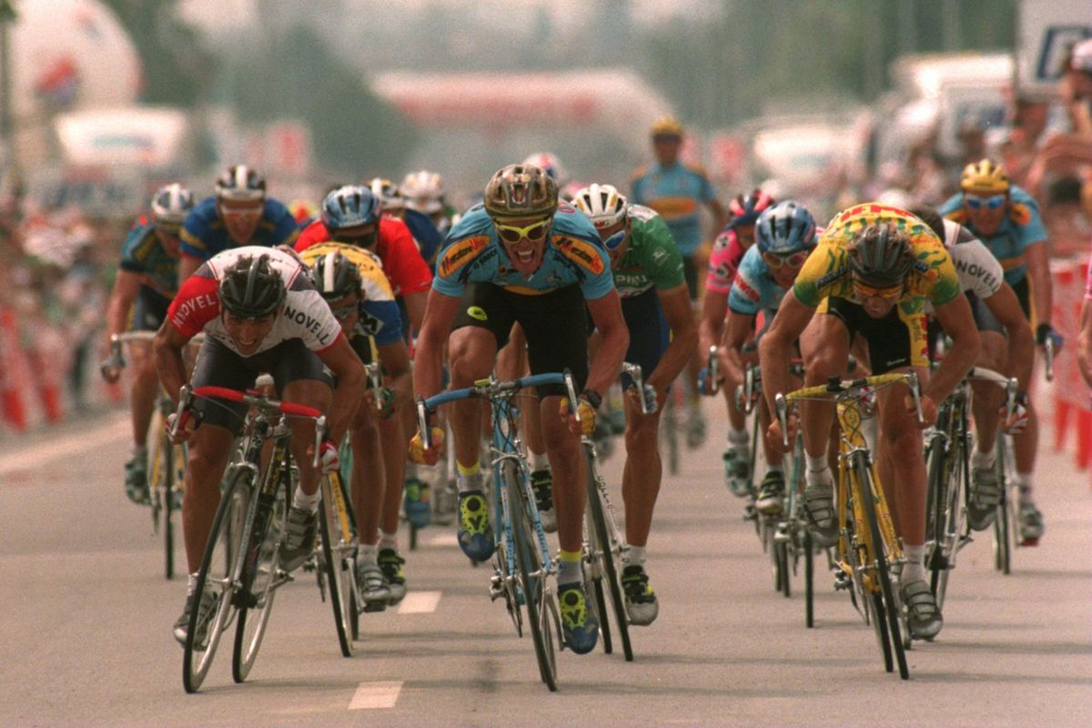 Before They Were Mates  Cipollini nips Lombardi in a 1995 Tour stage. Mike  Powell Getty 85bc22a45