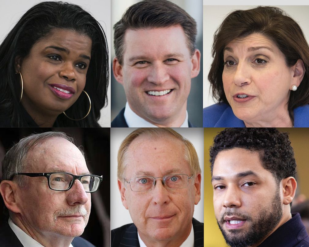 Top row, left-right: Cook County State's Attorney Kim Foxx in 2017; Bill Conway and Donna More in 2016. Bottom row, left-right: Republicans Pat O'Brien and Christopher Pfannkuche and actor Jussie Smollett.