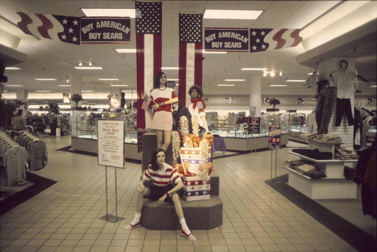 A patriotic shopping display inside a mall