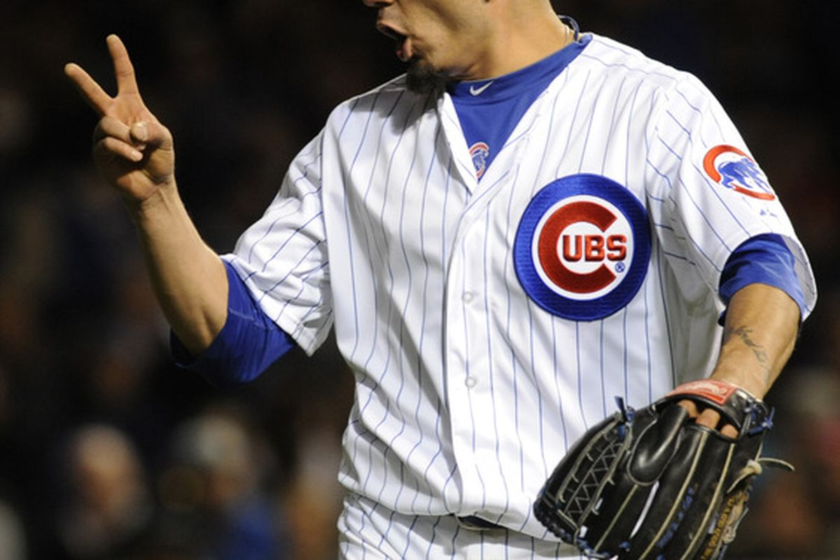 Pitcher Matt Garza of the Chicago Cubs reacts after getting the final out in the fifth inning against the Philadelphia Phillies at Wrigley Field in Chicago, Illinois.  (Photo by David Banks/Getty Images)