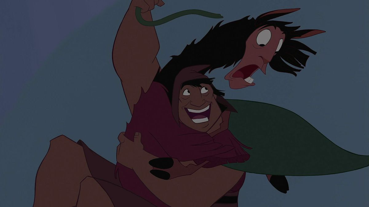 pacha and kuzco swinging from a vine