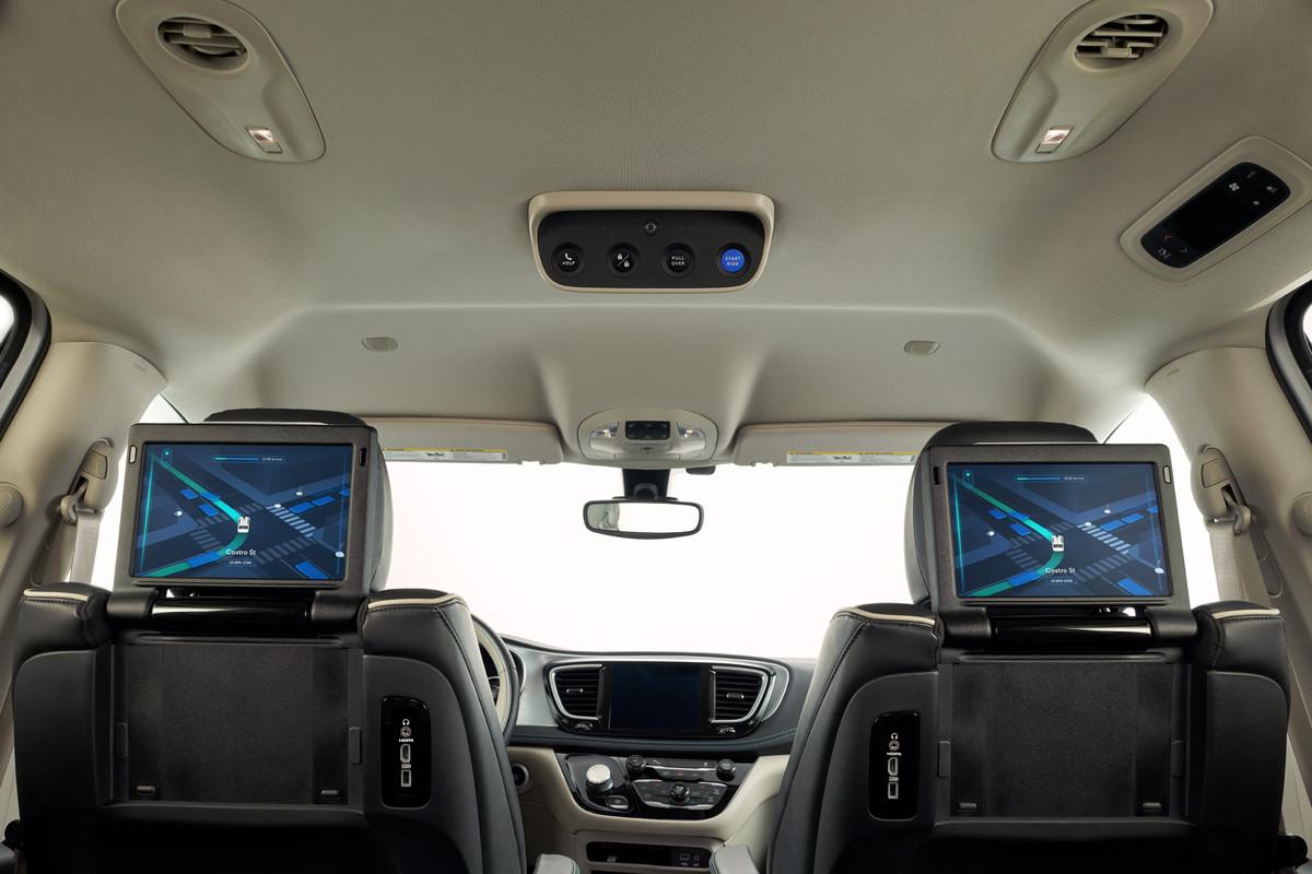Inside Waymo's Chrysler Pacifica minivan.