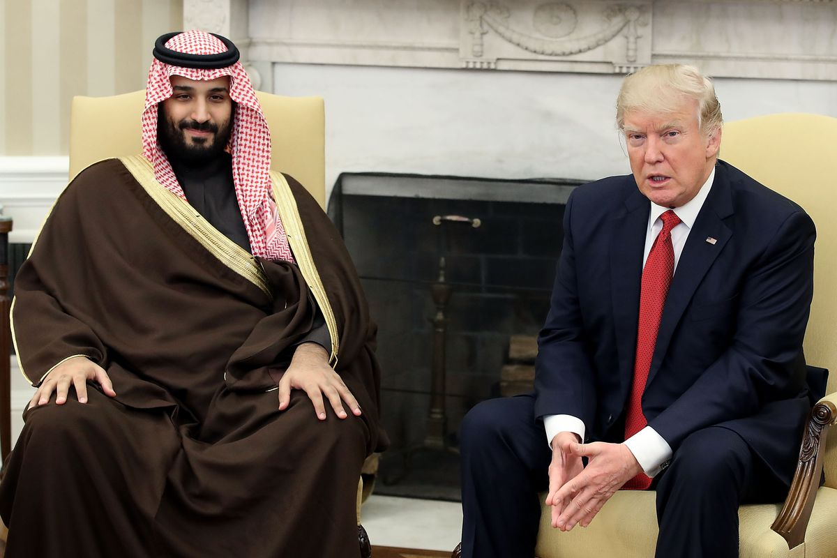 U.S. President Donald Trump (R) meets with Mohammed bin Salman, Deputy  Crown Prince and Minister of Defense of the Kingdom of Saudi Arabia, ...