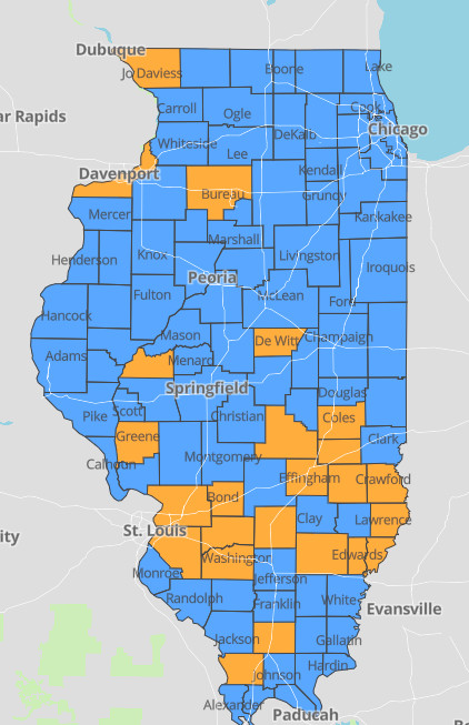 """Counties considered to be at a coronavirus """"warning level"""" are marked orange."""