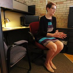Mary Anne Davies, a recent graduate of Loyola Law School, talks Monday, June 23, 2014, about her fellowship at the Disability Law Center in Salt Lake City.