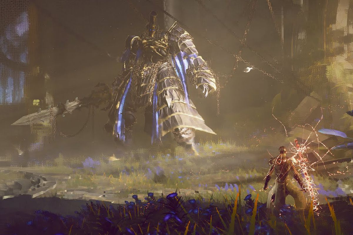 A player faces a giant knight enemy in a screenshot from Babylon's Fall