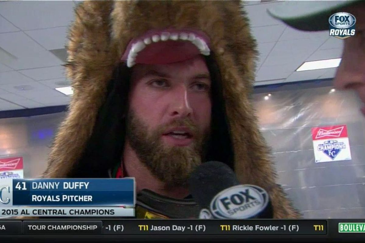 Danny Duffy in a bear suit