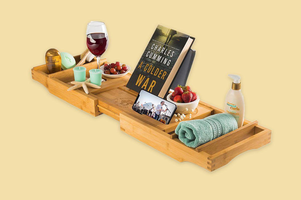 Luxury Bamboo Bathtub Tray Caddy Mother's Day 2020