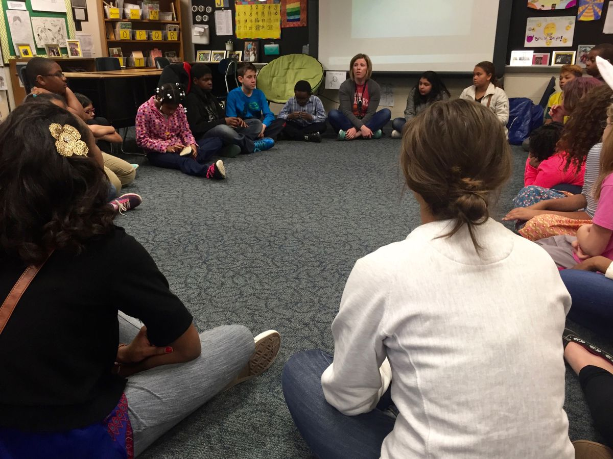 """Deanna Nibarger leads her class in a """"morning meeting"""" where they can check in with each other and build relationships as a class."""
