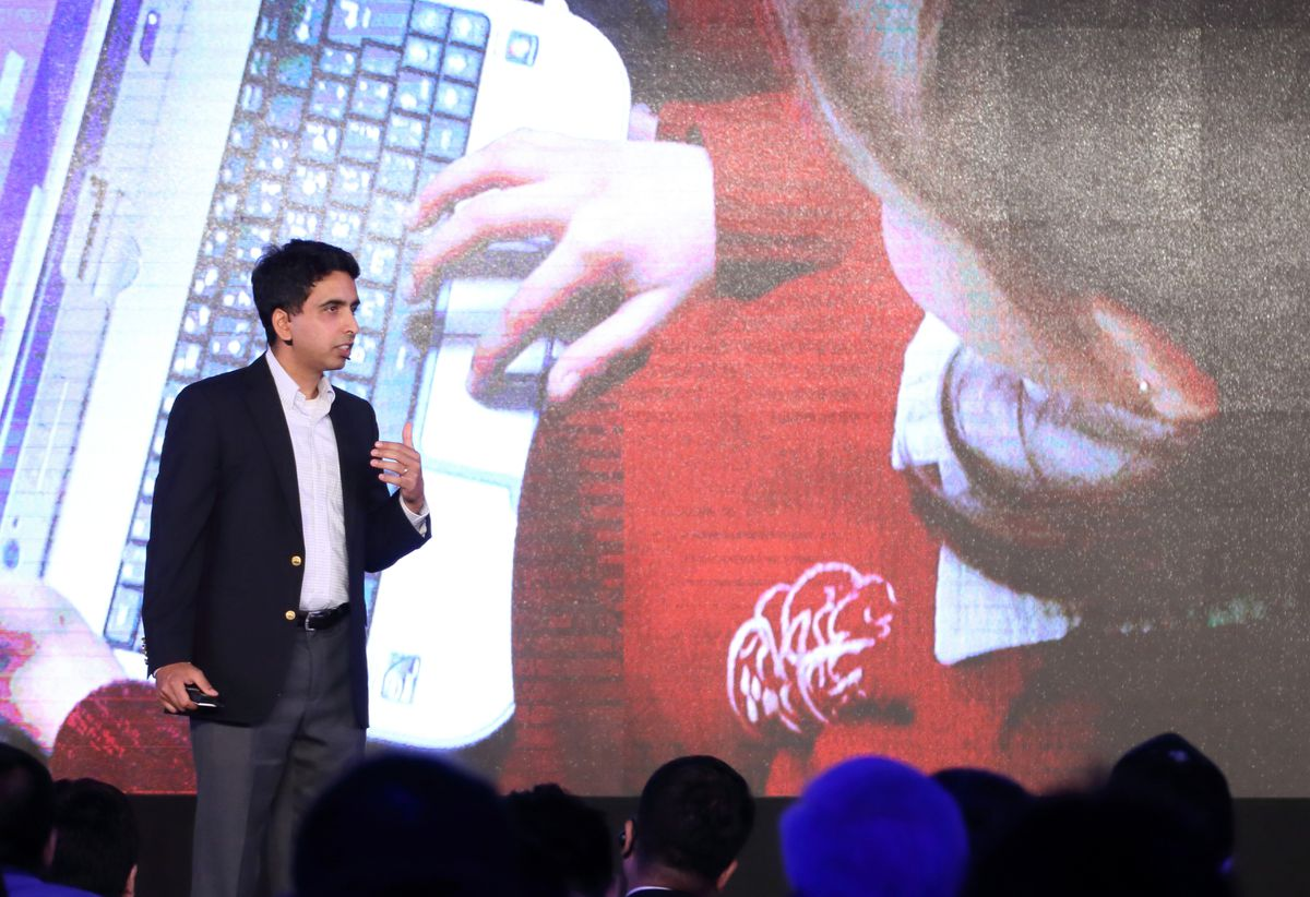 Sal Khan, founder of the Khan Academy, gives a lecture at the first global philanthropy conference on July 9, 2016 in China. (Photo by Visual China Group via Getty Images/Visual China Group via Getty Images)