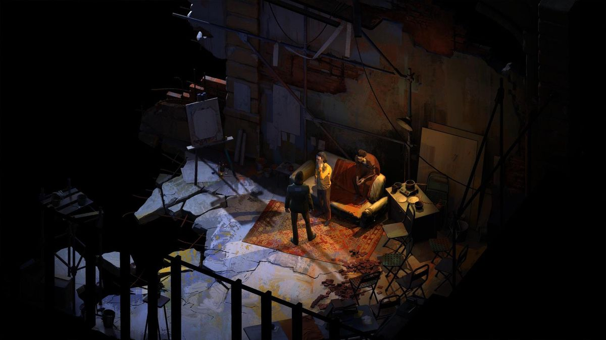 three characters near a couch in a dimly lit room in Disco Elysium