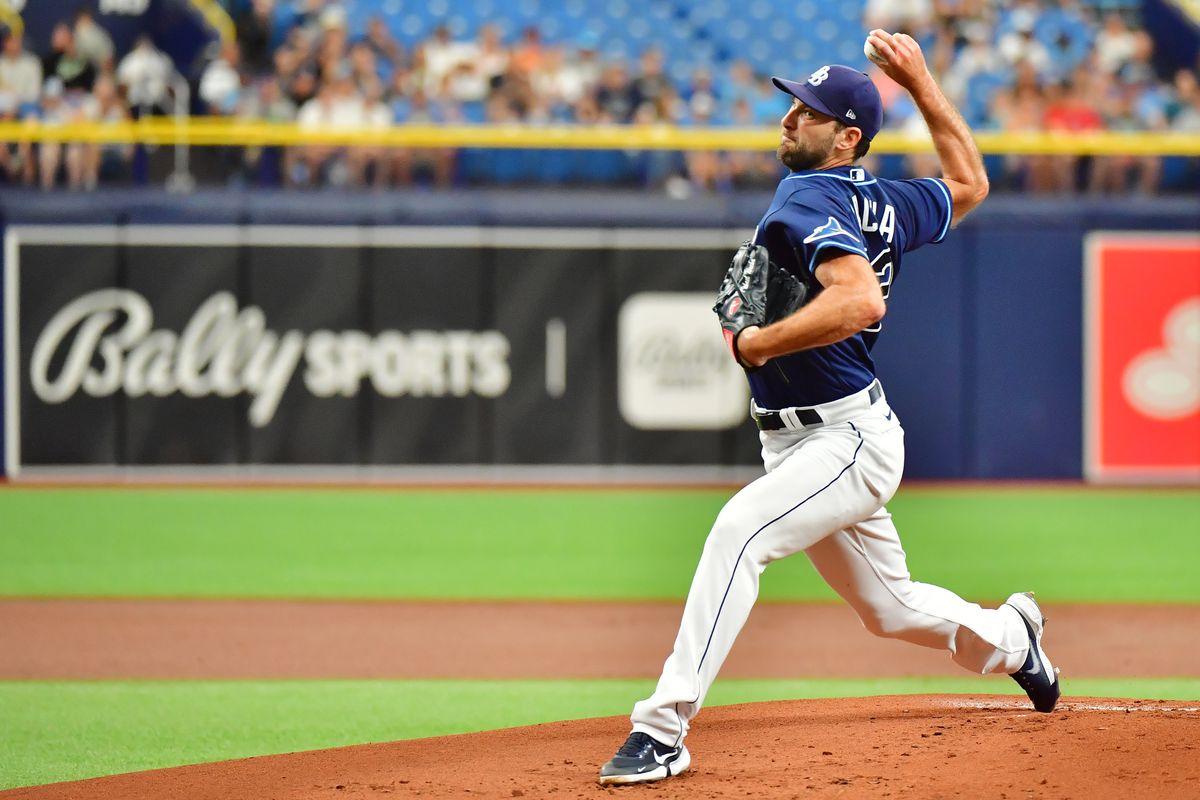 Michael Wacha #52 of the Tampa Bay Rays delivers a pitch to the Baltimore Orioles in the first inning at Tropicana Field on July 21, 2021 in St Petersburg, Florida.