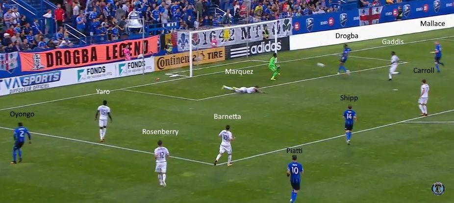 Philadelphia Union's defense conceding the first goal.