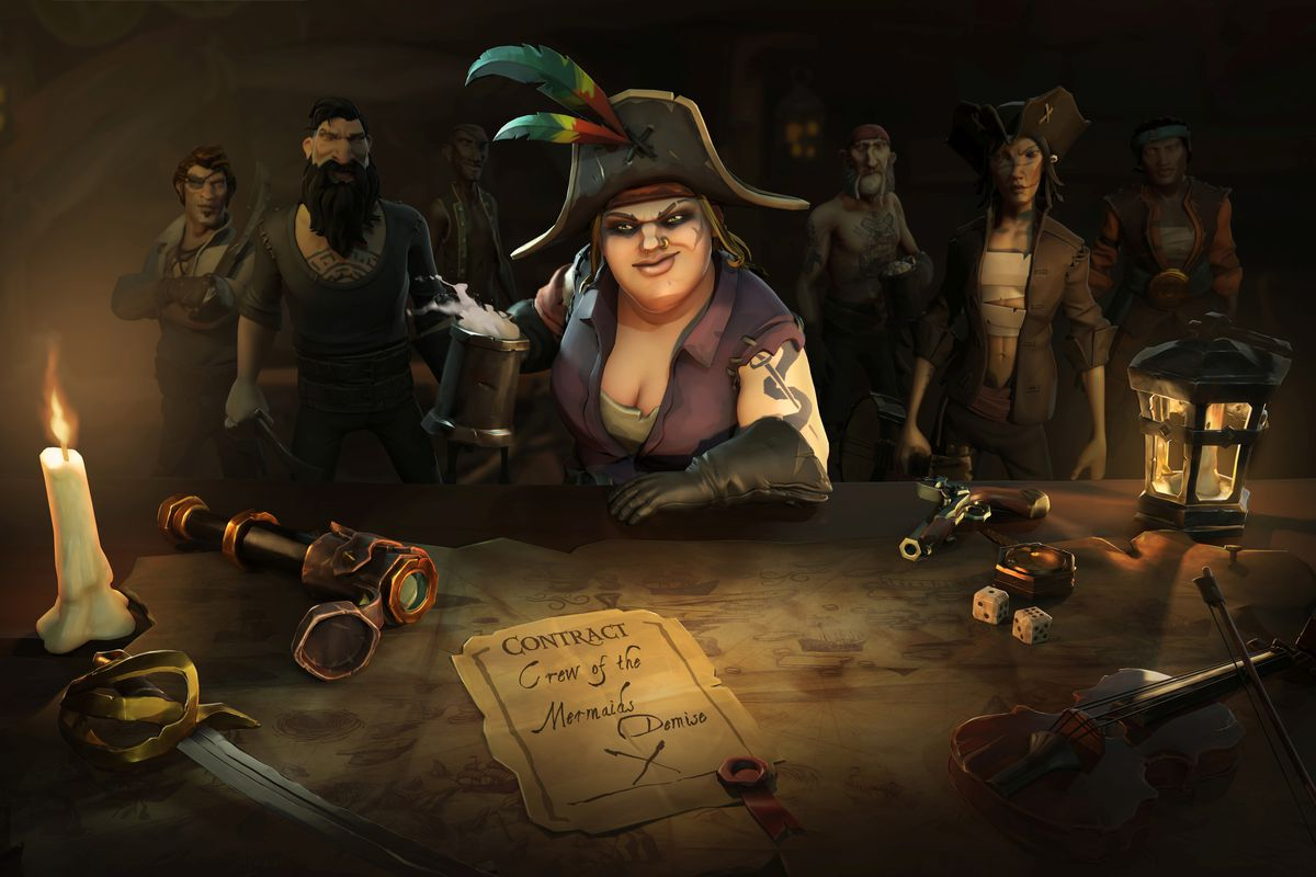 A pirate crews offer a contract for work in the Sea of Thieves