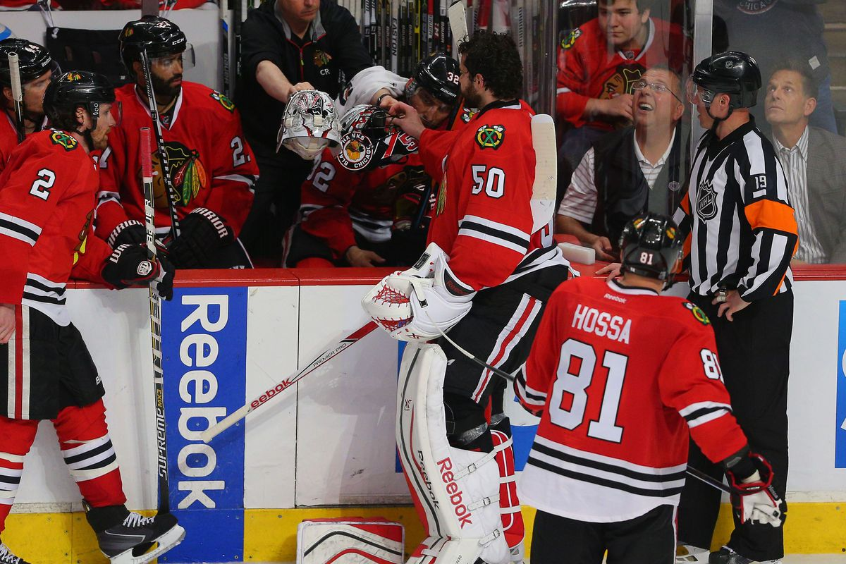 This is the extent of the treatment Corey Crawford received.