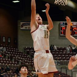 Juab's Dawson Olsen sneaks a shot in during a semifinal game against Judge Memorial Friday night in Richfield.
