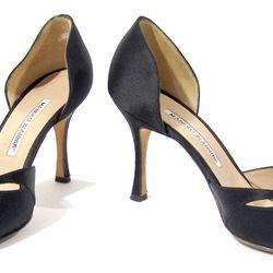 Manolo Blahnik black satin heels