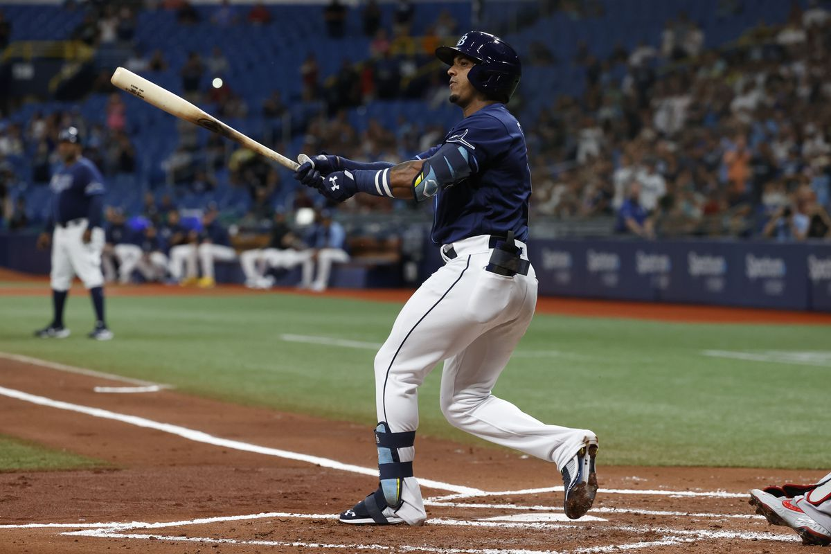 Tampa Bay Rays infielder Wander Franco (5) follows through on a swing during the first inning against the Boston Red Sox at Tropicana Field.