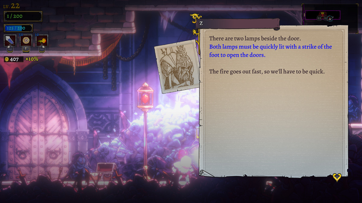 A clue to open the boss room door in Rogue Legacy 2