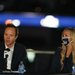 Ryan Smith, CEO of Qualtrics, and his wife, Ashley Smith, appear at a press conference announcing Smith's purchase of the Utah Jazz from Gail Miller at Vivint SmartHome Arena in Salt Lake City on Wednesday, Oct. 28, 2020.