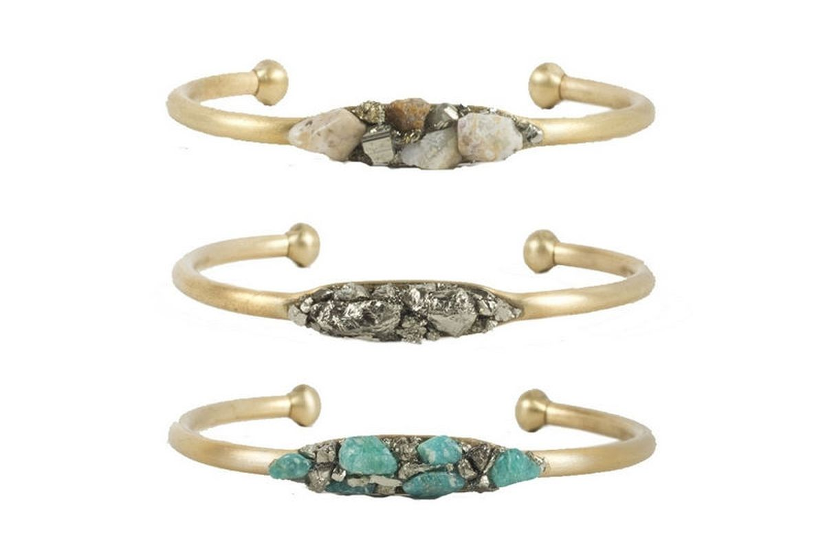 """Brass cuffs with stones, <a href=""""https://catbirdnyc.com/shop/product.php?productid=18817&amp;cat=326&amp;page=1"""">$68 each</a>, from Catbird"""