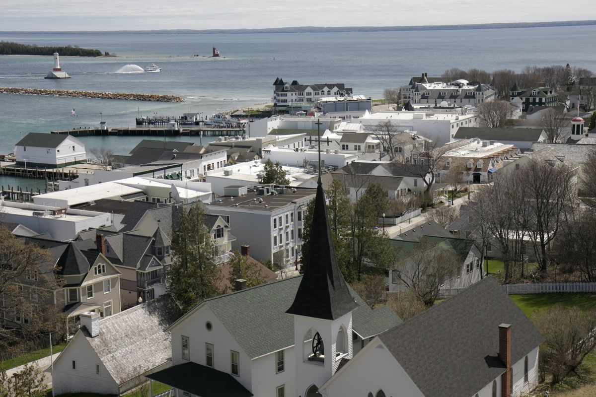 A view of houses at Fort Mackinac.