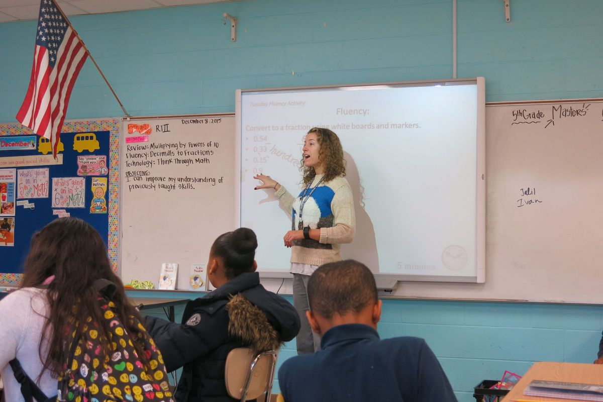 Karen Wolfson instructs fifth-grade students at Bailey STEM Magnet Middle Prep in East Nashville. (Photo by Grace Tatter)