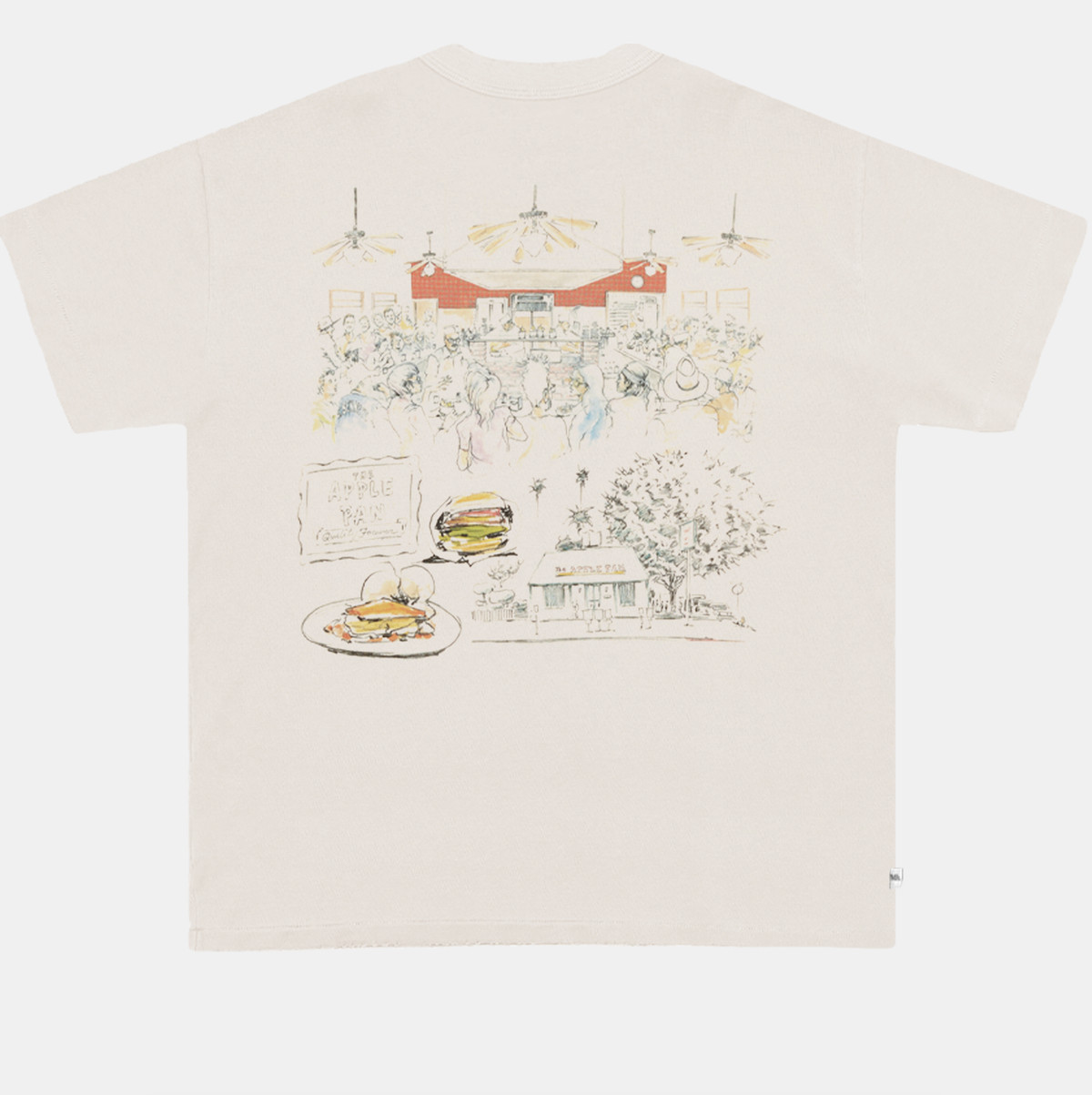 An artist rendering of Apple Pan on the back of a shirt.