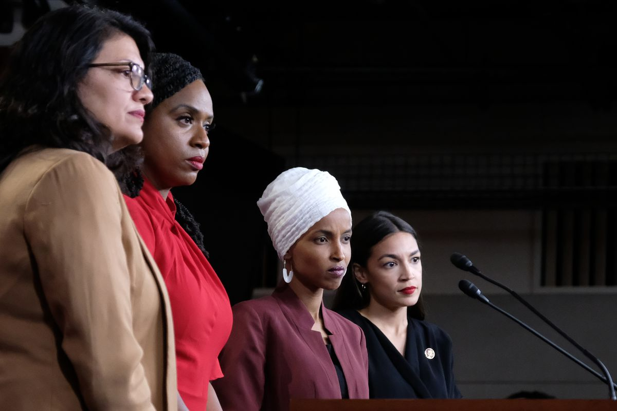 "Congresswomen Rashida Tlaib, Ayanna Pressley, Ilhan Omar, and Alexandria Ocasio-Cortez — ""the Squad."""