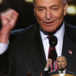 Sen. Chuck Schumer of New York addresses the Democratic National Convention in Charlotte, N.C., on Wednesday, Sept. 5, 2012.