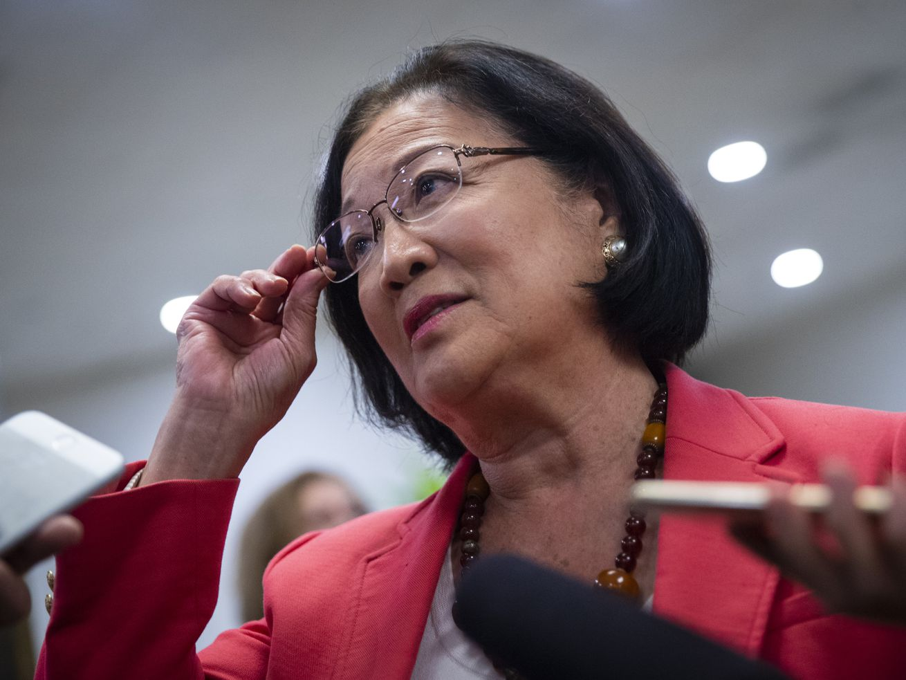 Sen. Mazie Hirono (D-HI) speaks to reporters on Capitol Hill on September 24, 2018.
