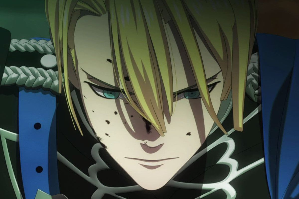 a blonde man grieves, his face splattered with blood and shadowed