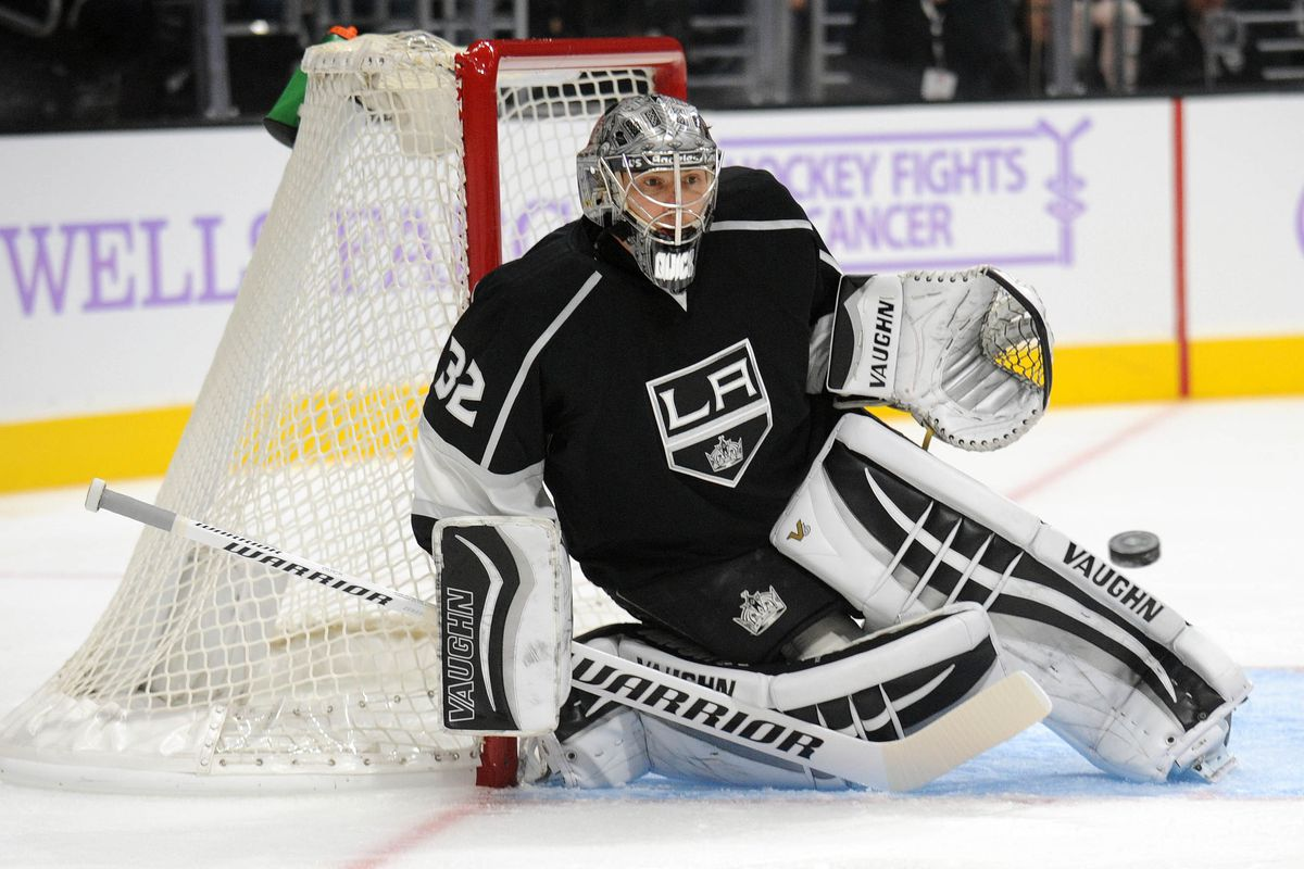 Jonathan Quick makes an easy save against Carolina on Friday night
