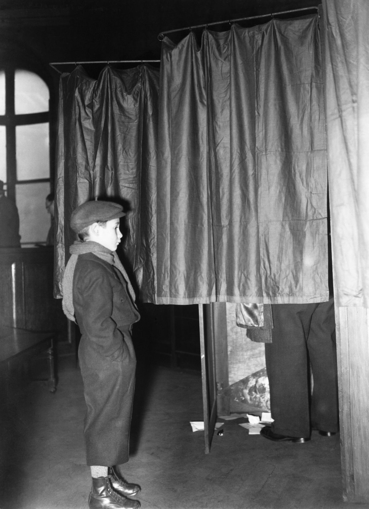 Child With His Father To The Polling Station In Paris On October 30Th 1938