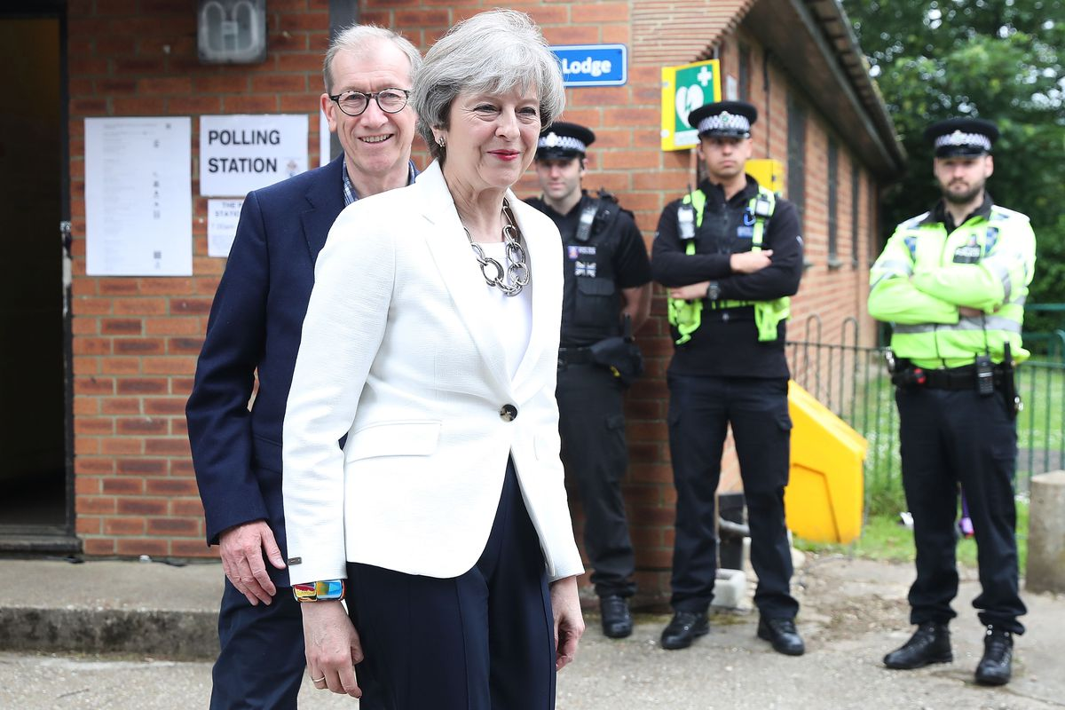 Leader Of The Conservative Party Theresa May Casts Her Vote In The 2017 General Election
