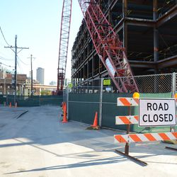 10:28 a.m. Road closed sign on Waveland Ave, at Clark Street -