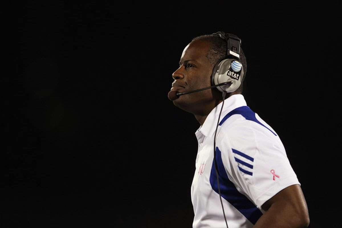 LAWRENCE KS - OCTOBER 14:  Head coach Turner Gill of the Kansas Jayhawks watches from the sidelines during the game against the Kansas State Wildcats on October 14 2010 at Memorial Stadium in Lawrence Kansas.  (Photo by Jamie Squire/Getty Images)