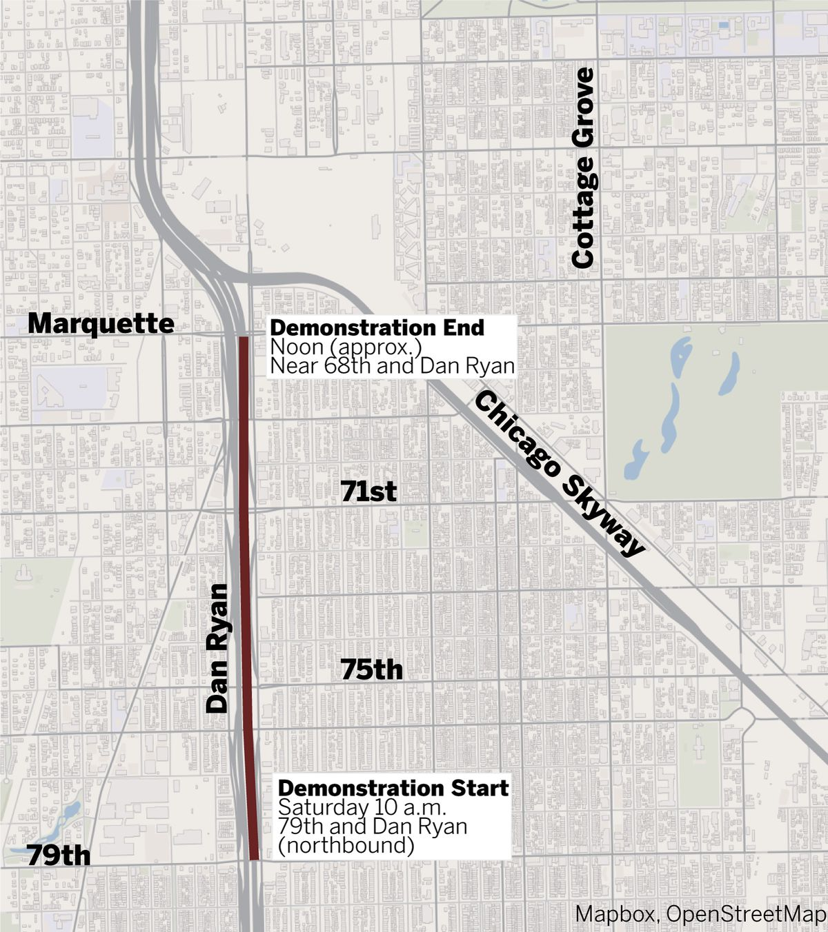 The route for Saturday's attempted Dan Ryan shutdown   Graphic by Tanveer Ali/Sun-Times