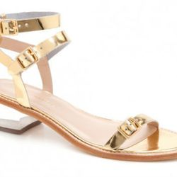 """Loeffler Randall <a href=""""http://www.shoplesnouvelles.com/shop/shoes/loeffler-randall-heddie-lucite-heel-sandal.html"""">Heddie Lucite-heel sandal</a>: """"Square-heeled sandals are one of my favorite spring shoe trends. The lucite on these sandals makes them s"""