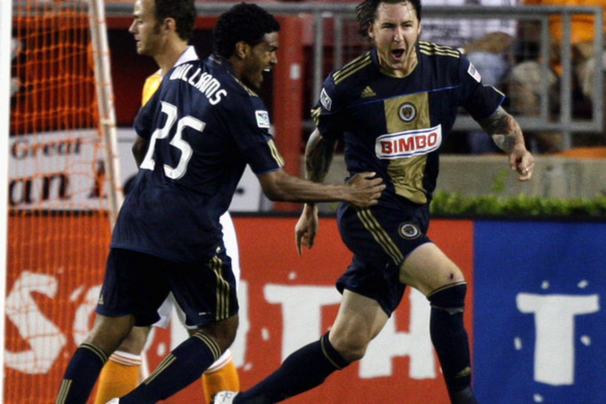 HOUSTON - MARCH 19:  Danny Califf #4 of the Philadelphia Union celebrates with Sheanon Williams after scoring in the first half against the Houston Dynamo at Robertson Stadium on March 19, 2011 in Houston, Texas.  (Photo by Bob Levey/Getty Images)