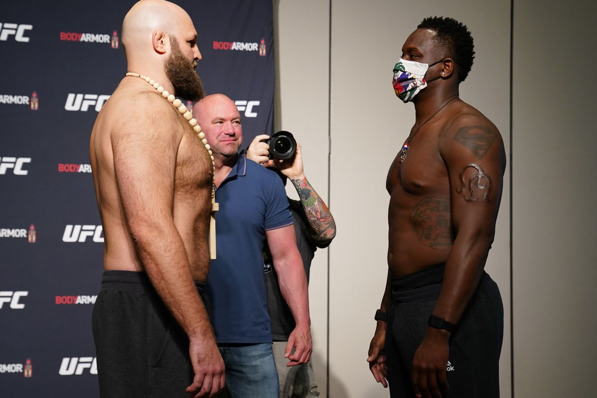 Opponents Ben Rothwell and Ovince Saint Preux face off during the official UFC Fight Night weigh-in on May 12, 2020 in Jacksonville, Florida.